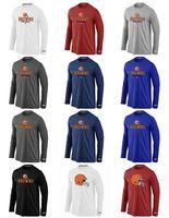 teamlogos t-shirts großhandel-Cleveland Herren Browns Sideline Team Logo Leistung Sweatshirt Hoodies Authentisches Langarm T-Shirt