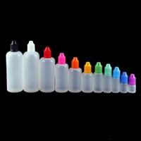 wenig öl flasche großhandel-LDPE-Nadelflaschen mit kindersicherer Schutzkappe und langer, dünner Pipettenspitze 3/5/10/20/50/100 / 120ml E-Tropfflasche