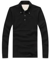 uzun kollu siyah polo gömlek toptan satış-Süper Yeni Erkekler Londra Brit Casual Gömlek Uzun Kollu Katı Gömlek Pamuk Iş Polo Tees Tops Beyaz Siyah Gri Mor 1123