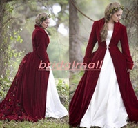 Wholesale velvet satin wedding dresses for sale - Group buy Winter Christmas Ball Gown Wedding Dresses With Cloak Burgundy Velvet Long Sleeve Muslim Bridal Gowns Hand made Flowers Robes de mariée