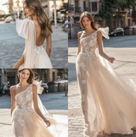 Wholesale tulle train dresses for sale - 2019 New Muse by Berta Wedding Dresses One Shoulder Backless Bridal Gown Appliqued A Line Beach Boho Simple See Through Wedding Dress