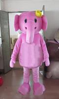 ingrosso abito rosa elefante-Costume da mascotte di elefante rosa personalizzato personalizzato Tailandese little elephant Character Clothes Festa di Halloween Party Fancy Dress