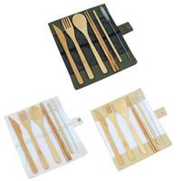 ingrosso set da cucina portatile-Set di posate in legno Set cucchiaino di bambù Forchetta con cucchiaino Set di posate da cucina con borsa di stoffa Set da viaggio portatile da tavola