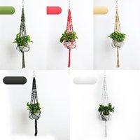 ingrosso fiori aggancio del vaso-Pianta Hanger Hook Fiore pianta Handmade Knitting Pot Natural Planter Holder Basket Casa Giardino Balcone Decorazioni