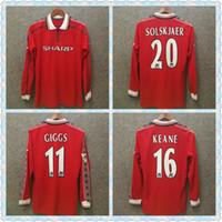 jerseys de fútbol unidos al por mayor-1999 2000 Manchester Retro United Soccer camisetas rojas final de la UEFA BECKHAM 1998 99 00 CAMISAS DE FÚTBOL GIGGS Versión retro JERSEY de manga larga