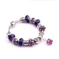 Wholesale beaded purple jewelry set resale online - Fashion Fit Pandora Charm Accessories beads Bracelets pink purple crystal bracelets Bangles Charm Magnoliaeflora Beads Diy Wedding Jewelry
