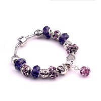 braceletes roxos venda por atacado-Moda Fit Pandora Charme Acessórios contas Pulseiras rosa roxo pulseiras de cristal Bangles Charme Magnoliaeflora Beads Diy Jóias de Casamento