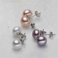 perle d'eau douce véritable argent sterling achat en gros de-100% véritable d'eau douce perle boucles d'oreilles blanc rose violet boucles d'oreilles pour les femmes en argent Sterling 925 6-12 MM boucle d'oreille