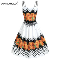 Wholesale pin sunflower online - Summer Spaghetti Strap Dress Sunflower Printed Patchwork Beach Boho A Line Rockabilly Retro Robe Pin Up Dresses Backless Vestido