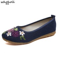 ingrosso tela ricamato scarpe cinesi-Whoholl Women Vintage Flats Nuova estate femminile Canvas Ethnic Chinese Knot Slip on Loafers Casual Comfort Shoes Ladies Ricamato