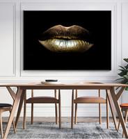 ingrosso pittura bianca nera dell'arte moderna-Modern Home Deco Nero Bianco Sexy Donna affascinante Labbro Bellezza Tela Pittura Moda Picture Wall Art Farfalla Per Soggiorno