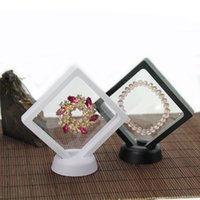 Wholesale handmade floats for sale - Group buy White black Jewelry Ring Pendant Display Stand Suspended Floating Display Case Jewellery Coins Gems Artefacts Packing Boxes