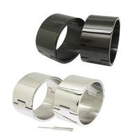 стальная запястье оптовых-полированный матовый серебряный черный 100% нержавеющая сталь запястье лодыжки манжеты запираемый браслет раб браслеты ювелирные изделия