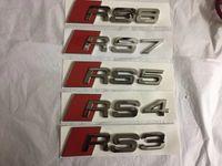 emblema rs4 venda por atacado-Cromo 3D Audi RS3 RS4 RS5 RS6 RS7 RS8 - emblema preto ou de prata do crachá da bota do logotipo do brilho