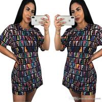 kişiselleştirilmiş elbise gömlekleri toptan satış-2019 Yeni Moda Kadınlar Elbiseler Kişiselleştirilmiş Rus Blok Baskılı T Gömlek Tee Gömlek Mini Elbiseler Ücretsiz hızlı kargo
