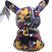 ingrosso bambola dei capretti neri-peluche Pikachu 20cm / 8 pollici nero stampa giocattoli della bambola della peluche di Pikachu dei bambini per i regali dei bambini Giochi per bambini