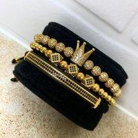 ingrosso braccialetto di perline di treccia-3 pz / set uomini bracciale gioielli ciondoli corona macrame perline bracciali intrecciatura uomo gioielli di lusso per le donne braccialetto