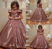 Wholesale royal blue sequin pageant dresses resale online - 2020 Rose Gold Flower Girls Dresses For Wedding Off The Shoulder Blingbling Sequins Puffy First Communion Dress Girls Pageant Gown