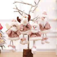 bonecos de neve do boneco de neve venda por atacado-Decoração da árvore de Natal pingente de Santa pelúcia Cláusula Snowman boneca Elk rena Ornamento de suspensão Xmas Decoração 4 Estilos HH9-2482