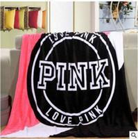 alfombras de letras al por mayor-4 colores 130 * 150 cm Love Pink Letter Blanket Soft Coral Velvet Plane Car Travel Toalla Mantas Aire acondicionado Alfombra Cómoda Alfombra 1PCS