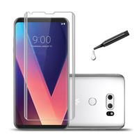 pelicula l9 al por mayor-Ultra-delgado pegamento UV Vidrio templado para LG V40 protector de pantalla de vidrio templado para LG V30 G7 película de vidrio protector de pantalla curva
