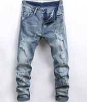ingrosso nuovi pantaloni alla moda-Pantalone a matita jeans aderente da uomo slim fit Elastico fresco alla moda uomo Primavera / Estate Pantaloni casual di nuova moda