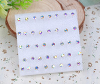 Wholesale 2mm earrings resale online - 200 pairs pairs set Mosaic Austria crystal Ear Studs Non fading anti allergy Twinkle Earring Mixed Suit crystal Ear Studs Diameter mm
