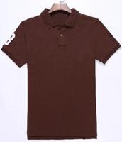 d98cce5900362 Etats-Unis Mode Hommes Solide Polo Shirts Grand Cheval Brodé Marque Racing  Sport Golf Polos Blanc Gris Bleu Noir Marron S-2XL 15 Couleurs