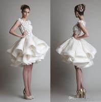 ligne sexy mousseline achat en gros de-robes de dentelle courtes 2019 bateau encolure sans manches longueur au genou Une ligne mousseline de soie plage robes de mariée robe de bal