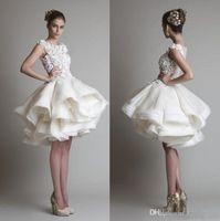 Wholesale white blue prom gowns resale online - short lace dresses bateau Neckline cap sleeveless knee length A line chiffon beach bridal gowns Prom Dress