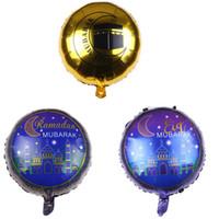 globo redondo de aluminio al por mayor-18 pulgadas Eid redondo Mubarak Globos de aluminio Hajj Mubarak Decoraciones Estrella Luna Helio Globo Ramadán Kareem Eid Al-Fitr Suministros