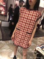 avrupa vintage giyim toptan satış-2019 Bayan Tasarımcı Elbise Ekose Gevşek Düğmeler Elbiseler Cepler Kısa kollu Butik Kadın giyim Avrupa ABD