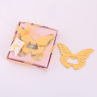 boîtes en forme de papillon achat en gros de-Gold Butterfly Shaped Beer Bottle Opener with Gift Box Package Wedding Party Favor Kitchen Bar Tools