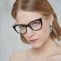 компьютеры с кошачьим глазом оптовых- Cat Eye Prescription Glasses Frame Women Girls Computer Clear Optical Myopia Lenses GamingEyeglasses Lunette De Vue UV400