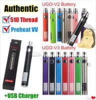 v3 vape batería al por mayor-Auténticos UGO-V II 2 510 Vape Pen UGO V3 Kits de batería de precalentamiento de voltaje variable EVOD eGo Micro USB Passthrough cartucho ecigs de batería