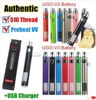ingrosso usb passthrough ego-Autentico UGO-V II 2 510 Vape Pen Vape UGO V3 Preriscaldamento batteria variabile Kit EVOD eGo Micro USB Passthrough cartuccia batteria ecigs