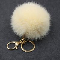 Wholesale fox ball key chains resale online - Luxury Fluffy Real Fox Fur Ball Pom Pom Plush Size Genuine Fur Key Chain Metal Ring Pendant Bag Charm