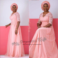 robes de mariée mère rougir achat en gros de-2019 Modest Blush pink Plus Size Mères De La Mariée Robes Demi manches encolure ronde longueur au sol tulle doux robes de soirée africaines formelles