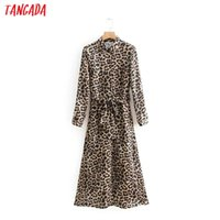 ingrosso stile coreano del leopardo del vestito-Tangada stile coreano donne Leopard Dress Autunno 2019 Vintage Shirt Dress manica lunga femminile Ladies Clothing Oz110 Y19051001