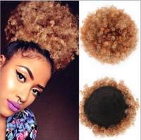 sentetik saç sarması toptan satış-Moda Sentetik Puf Afro Kısa Sapıkça Kıvırcık Chignon Saç Bun İpli At Kuyruğu Wrap Postiş Sahte Saç Uzantıları 3 Renkler