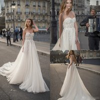 Wholesale plus size beach wedding dresses online - 2019 Lace Berta Wedding Dresses Sweetheart A Line Beaded Split Bohemian Wedding Dress Custom Made Plus Size Beach Bridal Gowns