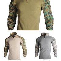 Wholesale combat uniform for sale - Group buy HAN WILD Men Combat Shirt Hiking T shirts Tactical Camouflage Clothing Camping Tshirt Training Uniform Army Shirts