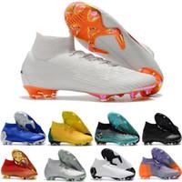 ingrosso girocollo giallo-Mens Mercurial Superfly VI 360 Elite FG Fly Knit Men Cr7 scarpe da calcio calcio tacchetti ramponi scarpe da ginnastica progettista scarpe da ginnastica taglia 39-46