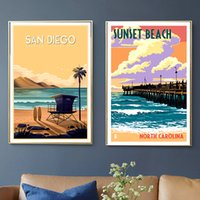 peintures de plage au coucher du soleil achat en gros de-San Diego Californie Sunset Beach Travel Toile Peintures Vintage Mur Kraft Affiche Enduit Stickers Muraux Décor À La Maison Image Cadeau