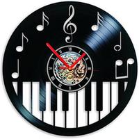 piano mural achat en gros de-Vinyle Horloge Piano keybord Horloge Murale Musique Déco Cadeaux Mur Art Décor À La Maison Cadeau À La Main