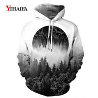Wholesale s clothes tree resale online - Women Men D Hoodies Hipster Mist Forest Tree Print Sweatshirts Harajuku Streetwear Casual Long Sleeve Hoodie Men Clothes