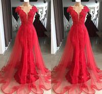 seksi gösterişli kırmızı balo elbiseleri toptan satış-Glamorous Kırmızı V Boyun Cap Kollu 2019 Gerçek Görüntüler Abiye Uzun Dantel Aplikler Mermaid Overskirts Balo elbise BC1215