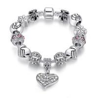 silberne perlen armbänder für frauen groihandel-Kristall Herz Bettelarmband Frauen DIY Pandora Perlen Armband Europäischen und Amerikanischen Feinsilber Überzogene Schmuck