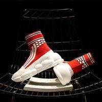 dokuma alt ayakkabılar toptan satış-Piyasada yeni ürünler sıcak çorap ayakkabı kadın 2019 yaz kalın alt yüksek yardım mermi nefes rahat fly dokuma ayakkabı ayakkabı gelgit