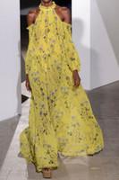 maxi uzun elbiseler sarı toptan satış-Yeni Self Portrait 2018 koleksiyonu Çiçek Sarı Uzun Pileli Maxi Elbise